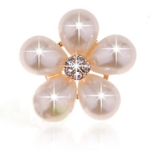 Sewing Craft Flower Ivory Faux Pearl Button Crystal Rhinestone Shank Button 5pcs