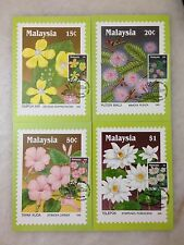 (JC) 4 pcs Post Card @ Wildflowers of Malaysia 1990