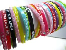 24 pieces Justin Bieber JB silicone bands bracelets mixed 8 colours free post