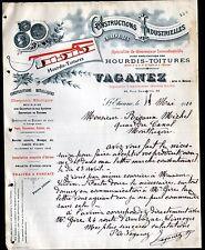 """SAINT-ETIENNE (42) TRAVAUX en BATIMENT / COUVERTURE TOITURE """"VAGANEZ"""" en 1910"""