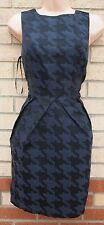 NEW LOOK DOGTOOTH BLUE BLACK GLITTER BUTTONED BACK TULIP PENCIL FORMAL DRESS 10