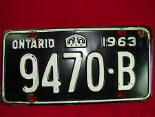 "VINTAGE 1963 Ontario Automobile License Plate ""9470-B"" Collectible!! Old Plate!"