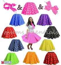 1950 POLKA DOT SKIRT ROCK AND ROLL 50s SKIRT & SCARF FANCY DRESS COSTUME