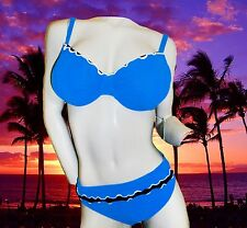 NEW PROFILE by GOTTEX solid blue SWIMSUIT BATHING SUIT BIKINI SET 34D & 12