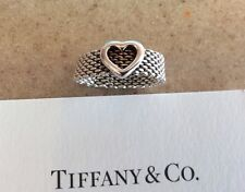 Tiffany & Co. Narrow Somerset Heart Band Ring Size 7.5 Sterling Silver 925 Mesh