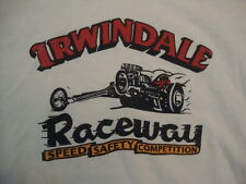 Irwindale Raceway Speed Safety Competition Drag Racing White T Shirt Size L