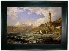 Cropsey The Coast of Genoa 1854 -Black Gallery Framed Canvas Print Repro 25 x 34