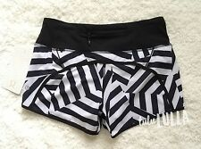 NWT Lululemon Run Times Short - which way sway black/white - size 4