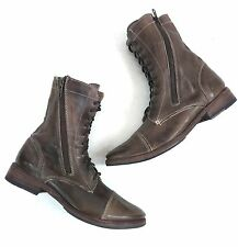 Bed Stu Womens Tabor Lace-Up Zip Boot - Tan Rustic US Size 8.5