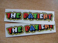 """Valentino Rossi style text - """"THE PATIENT""""  x2 stickers / decals  - 5in x 1in"""