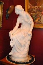 """Antique Italian Hand Carved Marble Statue of Graceful Lady Sitting, 33"""" Tall"""