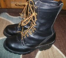 * WESCO * Size 10 D WORK SAFETY Black Leather USA Boots