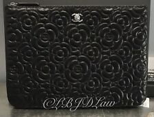 NWT Chanel Black Caviar Camellia SLG O-Case Zip Pouch Evening Clutch Silver 8x11