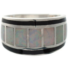 RING WITH WHITE CRUSHED OPAL RESIN & BLACK ENAMEL 925 SILVER FROM ARI D NORMAN