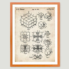 RUBIK'S CUBE US PATENT INVENTION PRINT 18X24 POSTER VINTAGE PUZZLE GIFT 1983