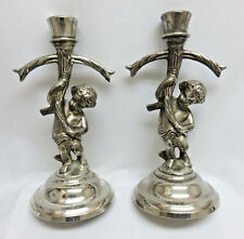 Vintage Silverplate Cherub Candle Stick Holders
