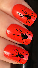 NAIL ART SET #363. x24 BLACK SPIDER WATER TRANSFER DECALS STICKERS HALLOWEEN