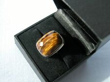 LOT 332 STUNNING 19CT TIGERS EYE SOLID STERLING SILVER RING SIZE J 1/2