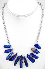 Mystic Dark Blue Purple Quartz Necklace Silver Chain