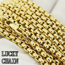 """STAINLESS STEEL ROUND BOX CHAIN GOLD NECKLACE(24""""x 5mm)56g/C94"""