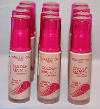12 x COLLECTION 2000 COLOUR MATCH FOUNDATION | RRP £72 - CRACKED LIDS