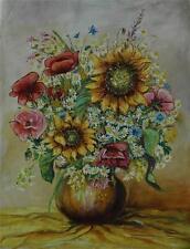 Beautiful Oil on Canvas Impressionist Vase of Sunflowers Daisies Etc  Angi Senn