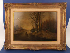 Antique Dutch Oil Painting Winter Landscape with Peoples - Signed A.Schelfhout