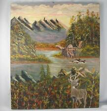 QUEBEC NAIVE FOLK ART PAINTING MOOSE,DEER & DUCK IN A FOREST HUNTING SCENE