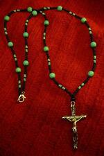 Native American Indian - Silver Cross with Turquoise Beaded Necklace