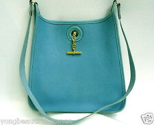 AUTHENTIC HERMES Vespa Blue Jean PM Togo Leather Gold Hardware Shoulder Bag