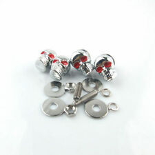 4x Universal Motorcycle Skull License Number Plate Frame Bolts Chrome Tag Screws
