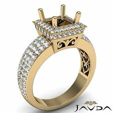 Filigree Diamond Engagement Ring Princess Semi Mount Halo 18k Yellow Gold 1.65Ct