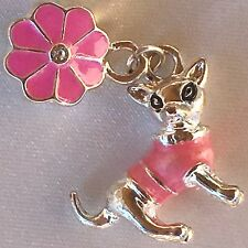 Silver Pink Enamel Puppy Dog CHIHUAHUA European Charm Bracelet Dangle Pendant
