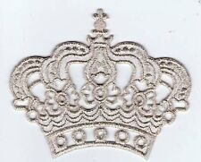 ECUSSON PATCHE THERMOCOLLANT COURONNE REINE ROI ARGENT SILVER 8 X 6 CMS CROWN