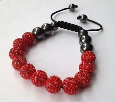 LOVELY  RED  SPARKLY SHAMBALLA BRACELET-11 DISCO BEADS-CZECH CRYSTAL-UK SELLER