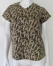 DEANNA FARRELL DESIGNS Pull Over V Neck Casual Top Beige and Green Size M New