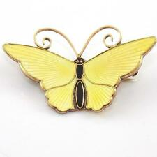 Vtg David Andersen Sterling Silver Modernist Yellow Enamel Butterfly Pin Brooch