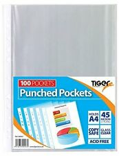 Tiger A4 strong transparent poly punched pockets x 100 sleeves/wallets
