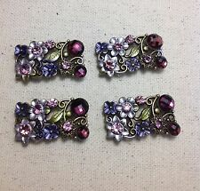 4 - 2 Hole Antique Gold Metal Slider Connectors Purple Rhinestone Flowers