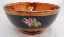 Antique Staffordshire Lustre Bowl Decorative Painted Pink Flowers On Blue Band