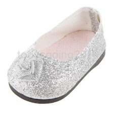 "Silver BlingBling Dress Shoes for 18"" American Girl Doll Clothes Accessories"