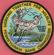 """Pa Pennsylvania Game Commission NEW 4"""" 1988 WTFW Black Eyed Egret Bird Patch"""