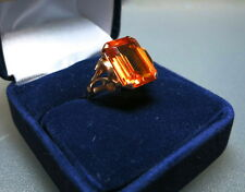 Vintage 18K Yellow Gold Orange Yellow Sapphire Cocktail Ring  9 ct. ca. 1940/50s