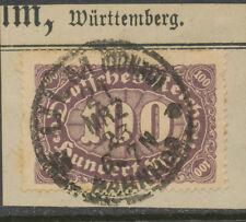 """DR Ziffern 100 M dkl'graulila a. Kab.-Briefstück mit K1 """"ULM (DONAU) / BAHNHOF"""""""