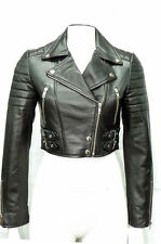 Missy Ladies Women's Black Short Cropped Biker Gothic Punk Nappa Leather Jacket