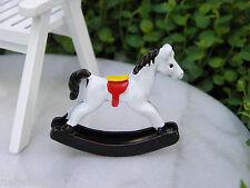 Miniature Dollhouse FAIRY GARDEN Accessories ~ White Metal Toy Rocking Horse NEW