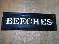 VINTAGE ENGLISH CAST IRON BEECHES HOUSE SIGN, GOOD CONDITION