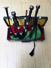 PROFESSIONAL SCOTTISH BLACK BAGPIPE FNS MOUNTS IRISH TARTEN FREE CHANTR HARD BOX