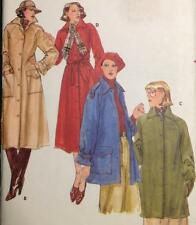 """UC 70s Vtg Butterick 5078 Sew Pattern Trench Coat Jacket Lined 34"""" Sz 12 Pockets"""