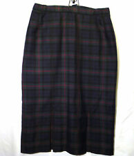 "womens skirt wool tartan lined blue green red 16 UK 36"" Slimma"